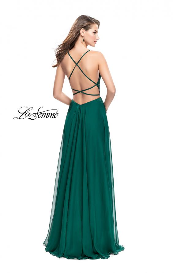 Picture of: A-line Prom Dress with Ruched Bodice and Pockets in Forest Green, Style: 26190, Back Picture