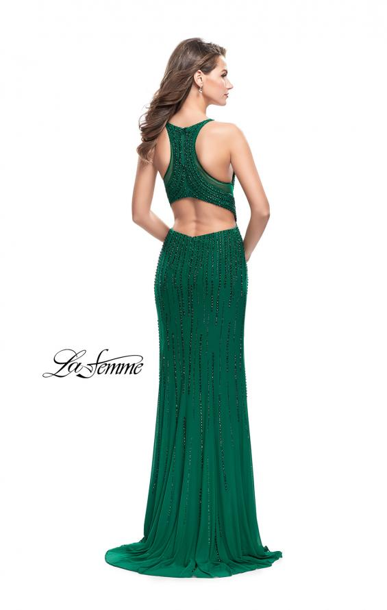 Picture of: Long Metallic Beaded Prom Gown with Front Cut Outs in Forest Green, Style: 26300, Back Picture