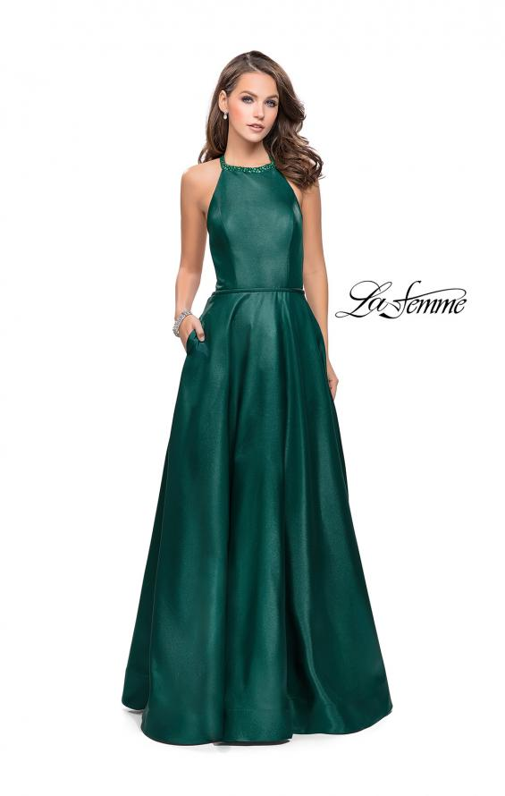Picture of: Long A-line Beaded Mikado Prom Dress with Pockets in Forest Green, Style: 26162, Detail Picture 1