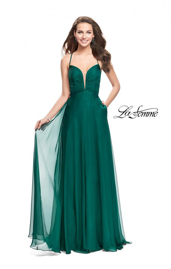 Picture of: A-line Prom Dress with Ruched Bodice and Pockets in Forest Green, Style: 26190, Detail Picture 1