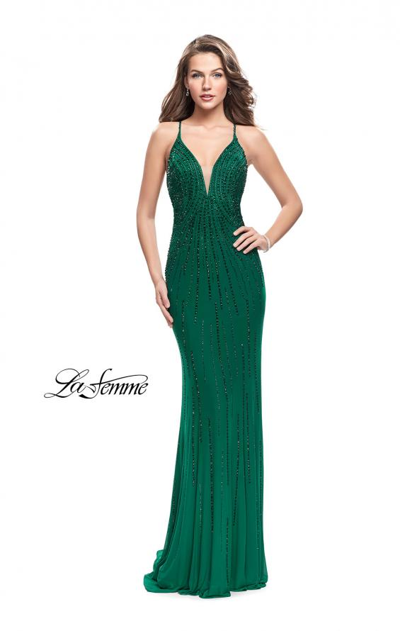 Picture of: Long Metallic Beaded Prom Gown with Front Cut Outs in Forest Green, Style: 26300, Detail Picture 1