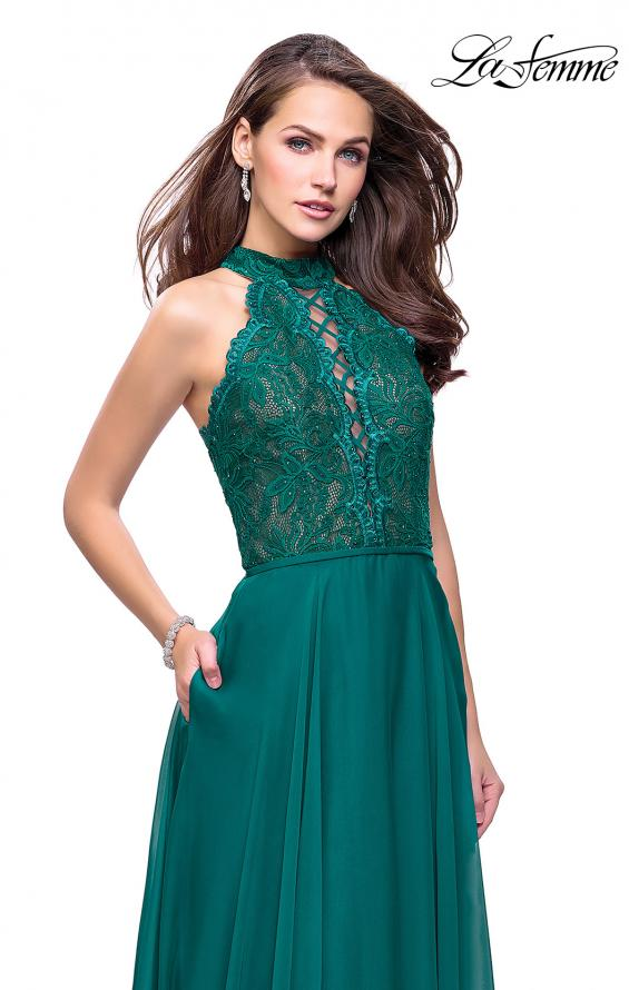Picture of: Long A Line Chiffon Dress with Lace Up Neckline, Style: 25347, Detail Picture 2