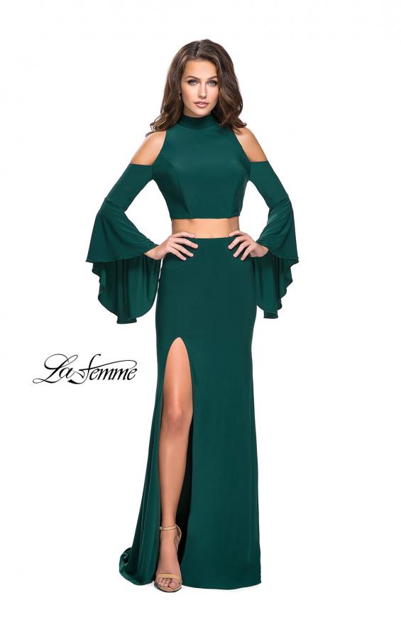 Picture of: Long Two Piece Dress with Cold Shoulders and Bell Sleeves, Style: 25353, Detail Picture 2