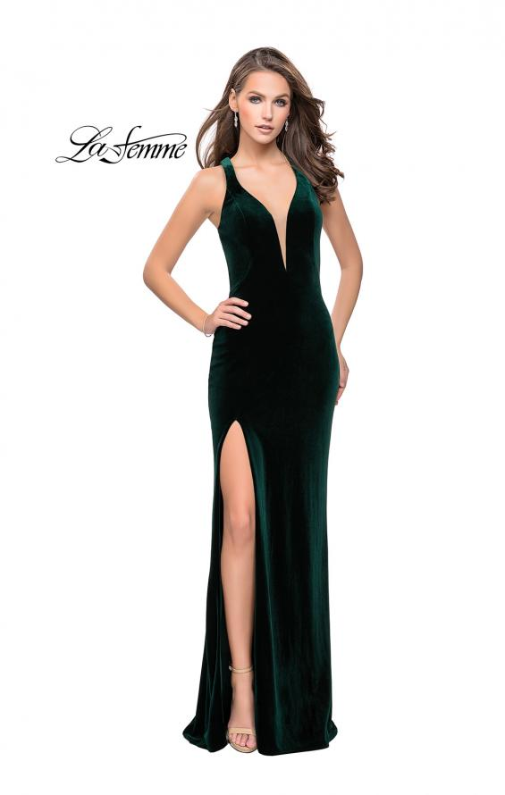 Picture of: Long Velvet Prom Dress with Deep V and Side Leg Slit in Forest Green, Style: 25363, Detail Picture 2