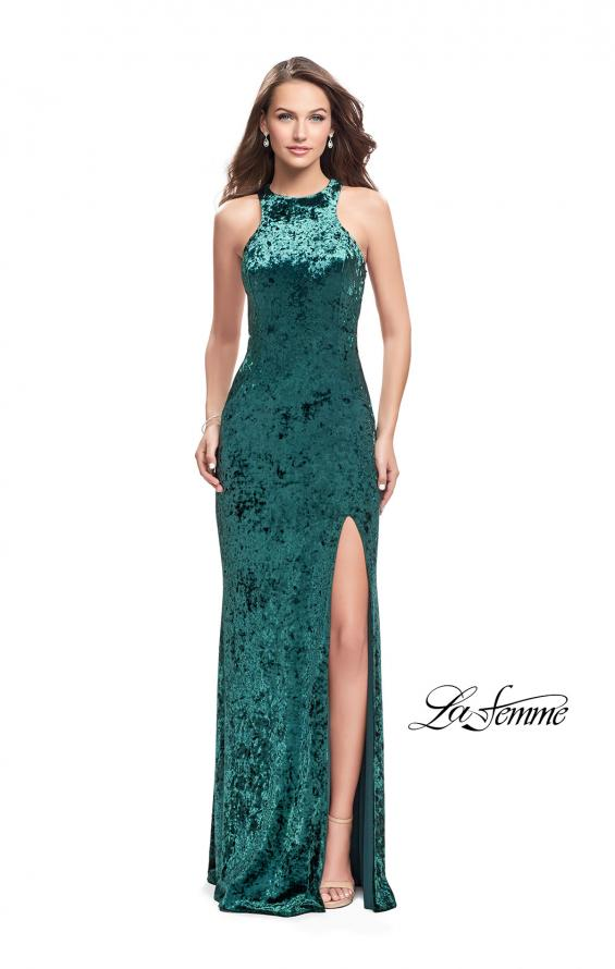Picture of: Crushed Velvet Prom Dress with High Neckline and Leg Slit in Forest Green, Style: 25734, Detail Picture 2