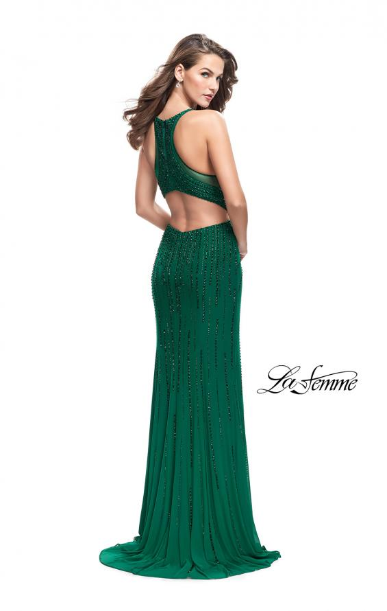 Picture of: Long Metallic Beaded Prom Gown with Front Cut Outs in Forest Green, Style: 26300, Detail Picture 2
