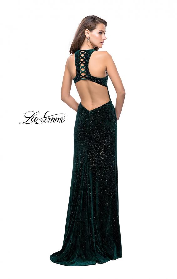 Picture of: Long Sparkling Velvet Prom Dress with Open Racer Back, Style: 25517, Detail Picture 3