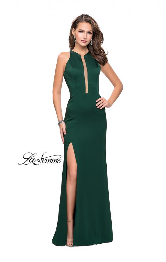 Picture of: High Neck Satin Gown with Leg Slit and Strappy Back, Style: 25962, Detail Picture 3