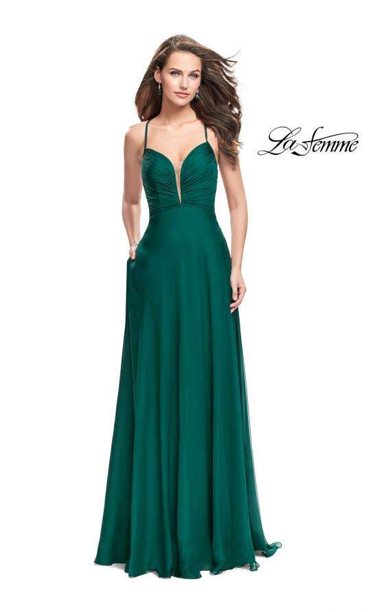 Picture of: A-line Prom Dress with Ruched Bodice and Pockets in Forest Green, Style: 26190, Detail Picture 3