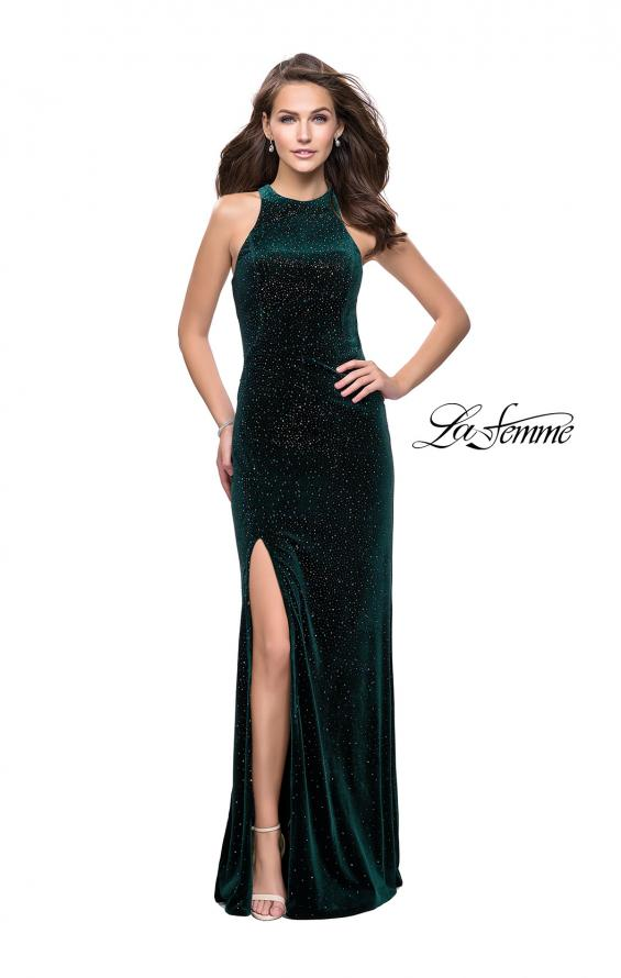 Picture of: Long Sparkling Velvet Prom Dress with Open Racer Back, Style: 25517, Detail Picture 4