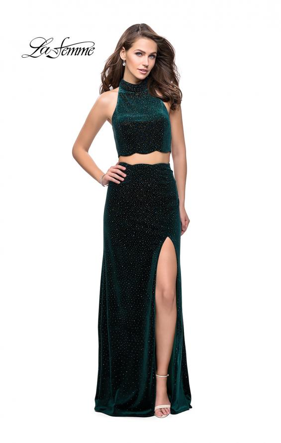 Picture of: Two Piece Velvet Prom Dress with Scallop Detail and Slit, Style: 25667, Detail Picture 4