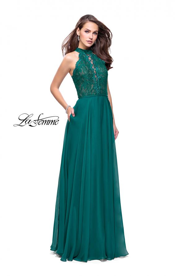 Picture of: Long A Line Chiffon Dress with Lace Up Neckline, Style: 25347, Detail Picture 5