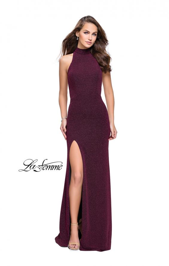 Picture of: Sparkly Jersey Long Dress with High Neckline and Front Slit in Fucshia, Style: 25404, Main Picture