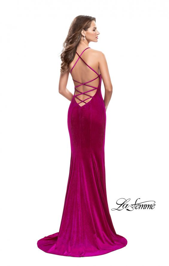 Picture of: Velvet Mermaid Style Prom Dress with Deep V Neckline in Fuchsia, Style: 25174, Back Picture