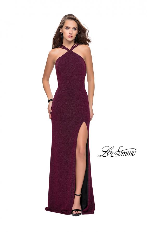 Picture of: Long Sparkly Dress with High Neckline and Side Slit in Fuschia, Style: 25346, Back Picture