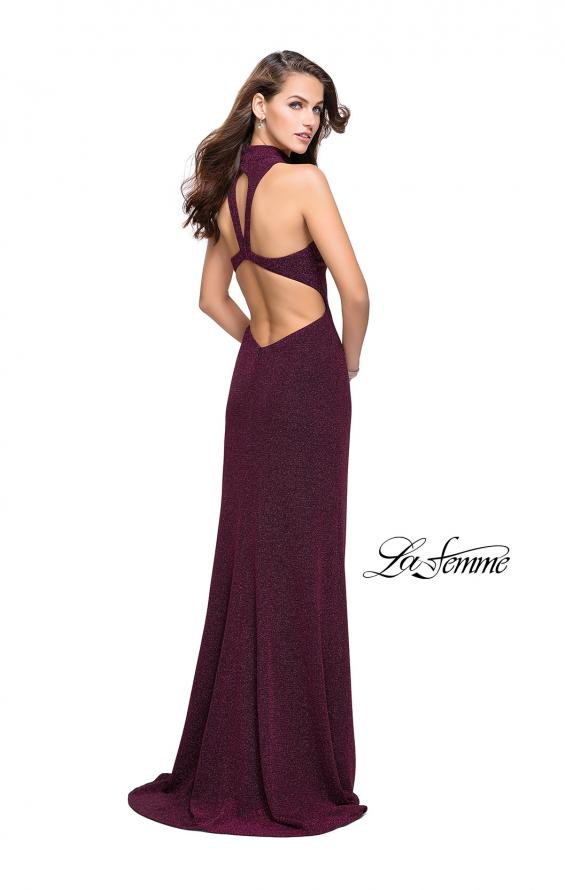 Picture of: Sparkly Jersey Long Dress with High Neckline and Front Slit in Fucshia, Style: 25404, Back Picture