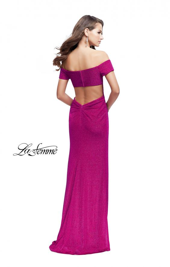 Picture of: Off the Shoulder Prom Dress with Wrap Side Leg Slit, Style: 25955, Back Picture