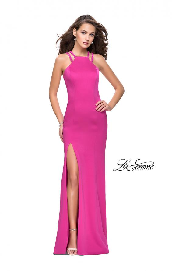 Picture of: Classic Long Evening Gown with Beaded Straps and Slit in Fuchsia, Style: 25540, Detail Picture 1