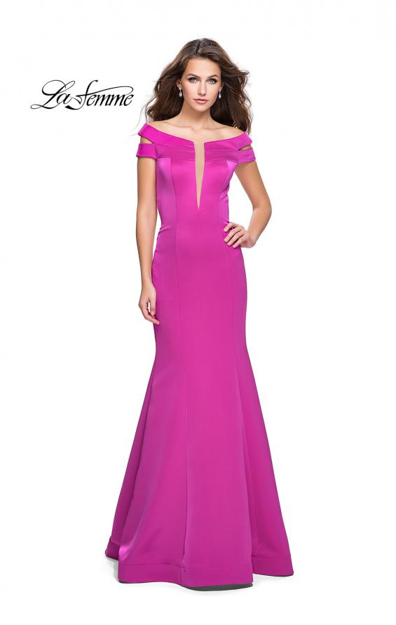 Picture of: Satin Off the Shoulder Mermaid Prom Dress with V Neck in Fuchsia, Style: 25903, Detail Picture 1
