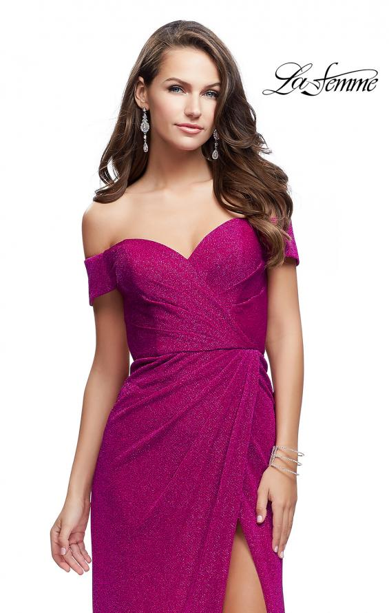 Picture of: Off the Shoulder Prom Dress with Wrap Side Leg Slit in Fuchsia, Style: 25955, Detail Picture 1