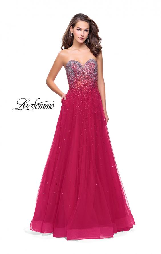 Picture of: Long Strapless Ball Gown with Metallic Ombre Rhinestones in Fuchsia, Style: 26264, Detail Picture 1
