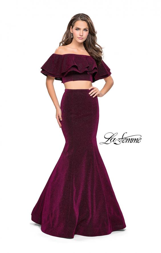 Picture of: Long Sparkling Off the Shoulder Jersey Prom Dress in Fuchsia, Style: 26324, Detail Picture 1