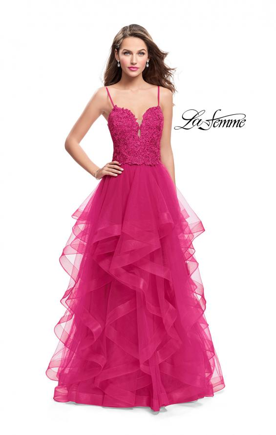 Picture of: Long Ball Gown with Tulle Skirt and Beaded Lace Bodice in Fuchsia, Style: 25857, Detail Picture 2