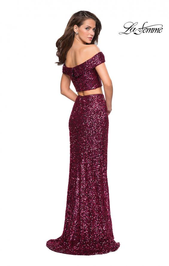 Picture of: Two Piece Sequin Off the Shoulder Prom Dress in Fuchsia, Style: 27020, Detail Picture 2