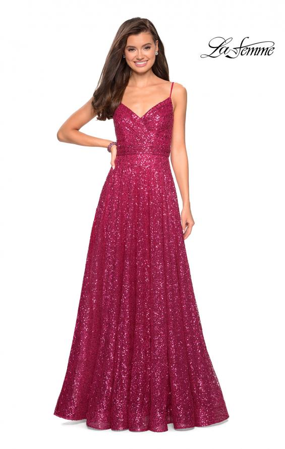 Picture of: sequin Empire Waist Prom Dress with V Back, Style: 27747, Detail Picture 3