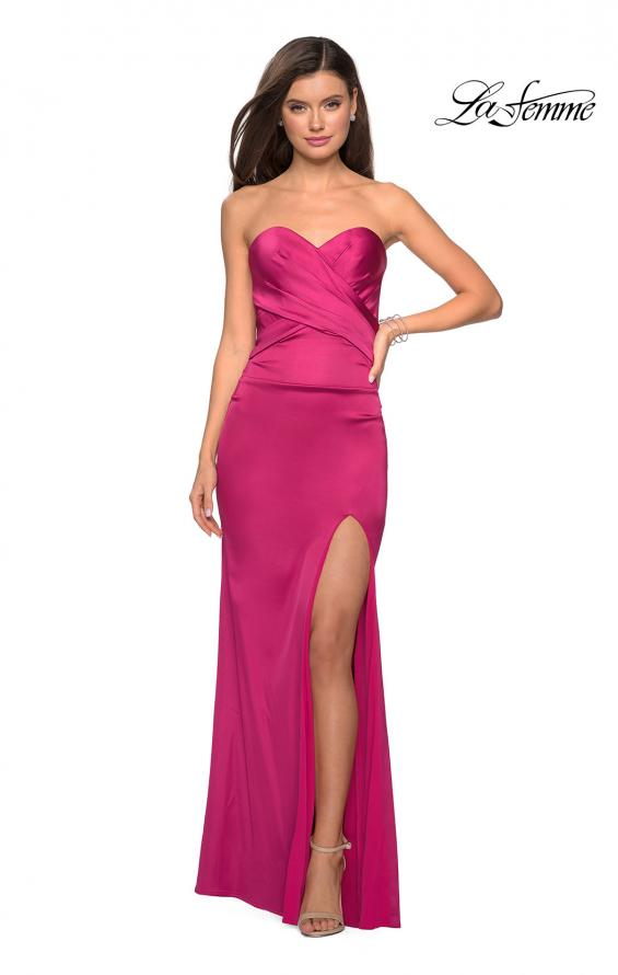 Picture of: Body Forming Strapless Satin Dress with Side Slit in Fuchsia, Style: 27780, Detail Picture 3