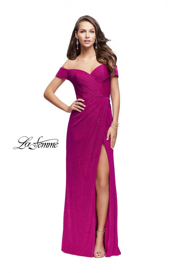 Picture of: Off the Shoulder Prom Dress with Wrap Side Leg Slit, Style: 25955, Detail Picture 4