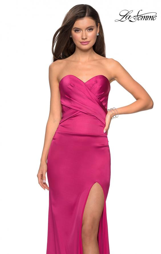 Picture of: Body Forming Strapless Satin Dress with Side Slit in Fuchsia, Style: 27780, Detail Picture 5