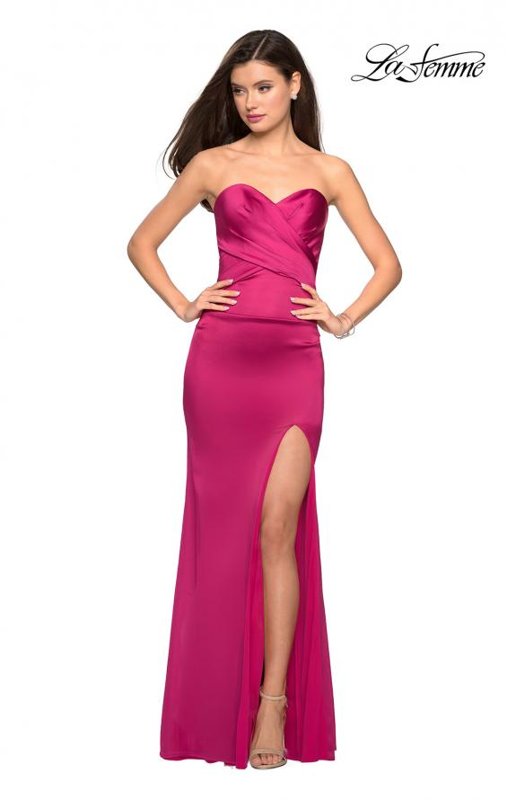 Picture of: Body Forming Strapless Satin Dress with Side Slit in Fuchsia, Style: 27780, Detail Picture 7