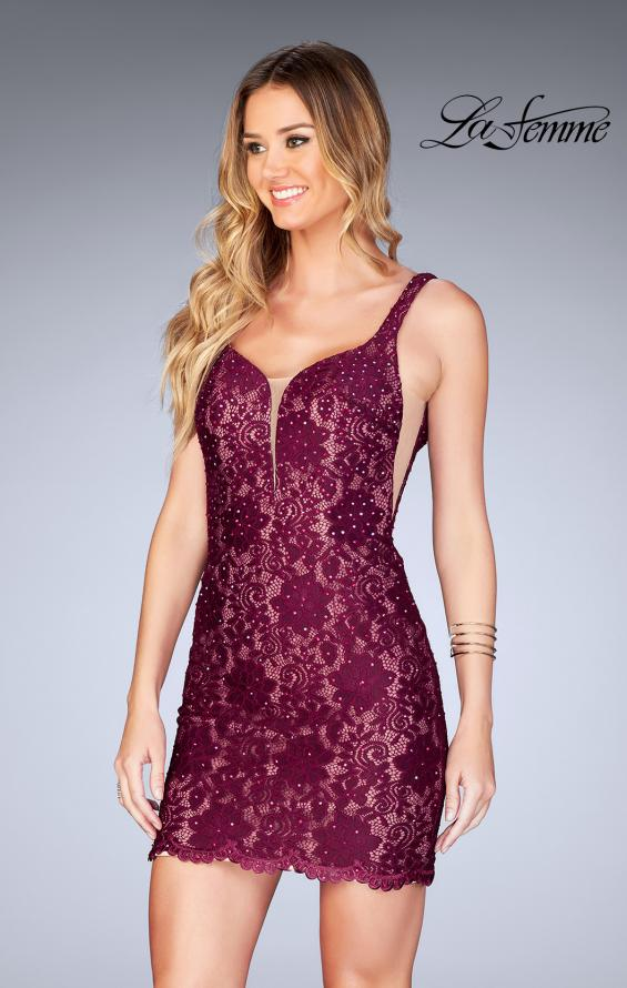 Picture of: Deep V Short Lace Dress with Illusion Sheet Sides in Garnet, Style: 25025, Main Picture