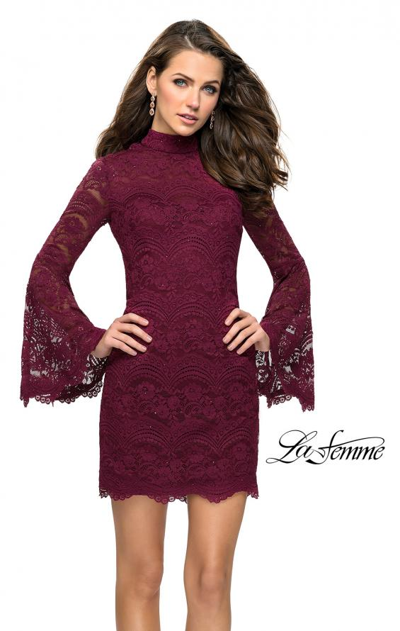 Picture of: Lace Bell Sleeve Homecoming Dress with High Neckline, Style: 26668, Main Picture