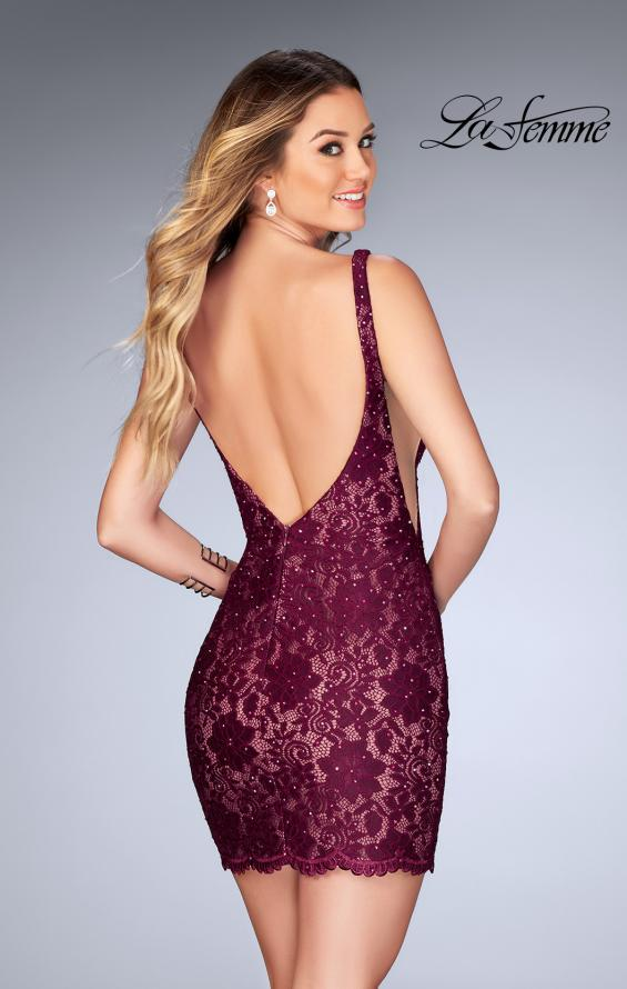 Picture of: Deep V Short Lace Dress with Illusion Sheet Sides in Garnet, Style: 25025, Back Picture