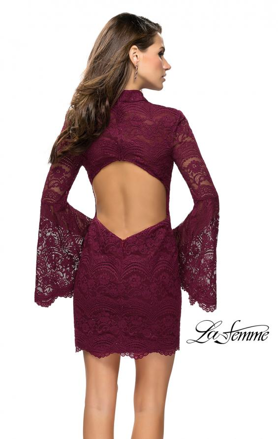 Picture of: Lace Bell Sleeve Homecoming Dress with High Neckline, Style: 26668, Back Picture