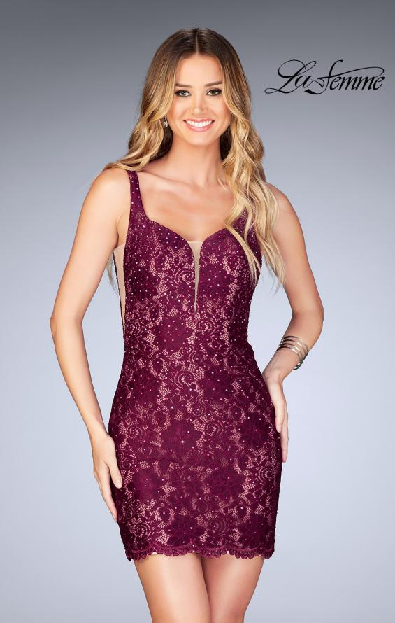 Picture of: Deep V Short Lace Dress with Illusion Sheet Sides in Garnet, Style: 25025, Detail Picture 1