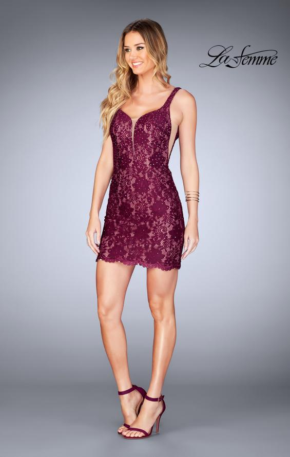 Picture of: Deep V Short Lace Dress with Illusion Sheet Sides in Garnet, Style: 25025, Detail Picture 2