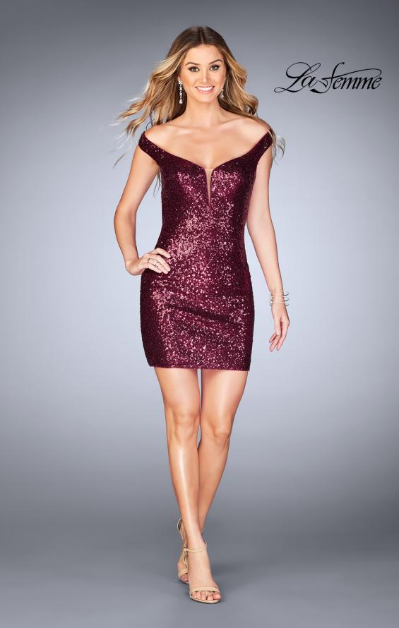 Picture of: Off the Shoulder Short Sequin Dress with Strappy Back, Style: 25085, Detail Picture 2