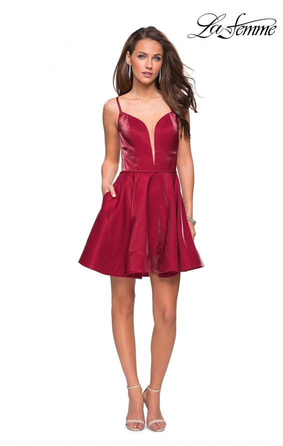 Picture of: Fit and Flare Satin Short Dress with Deep Neckline in Garnet, Style: 26659, Detail Picture 2