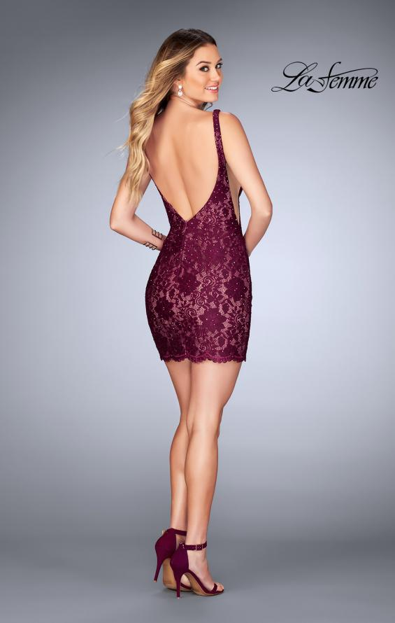 Picture of: Deep V Short Lace Dress with Illusion Sheet Sides in Garnet, Style: 25025, Detail Picture 3