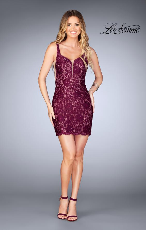 Picture of: Deep V Short Lace Dress with Illusion Sheet Sides in Garnet, Style: 25025, Detail Picture 4