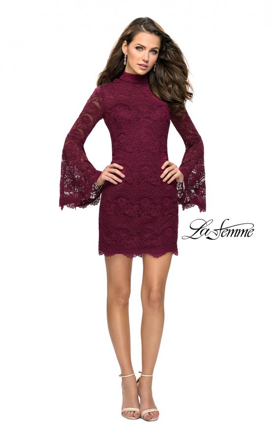 Picture of: Lace Bell Sleeve Homecoming Dress with High Neckline, Style: 26668, Detail Picture 4