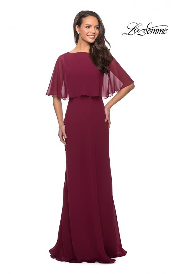 Picture of: Crepe Chiffon Dress with Sheer Cape-Like Overlay, Style: 25204, Main Picture