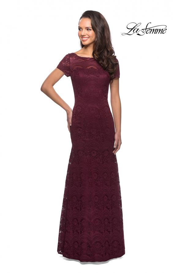 Picture of: Floor Length Lace Gown with Short Sleeves in Garnet, Style: 26875, Main Picture