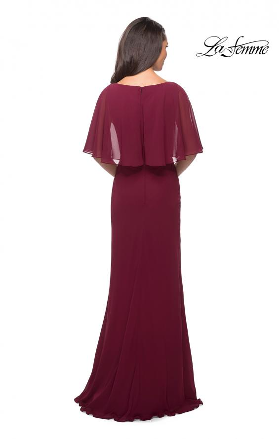 Picture of: Crepe Chiffon Dress with Sheer Cape-Like Overlay, Style: 25204, Back Picture