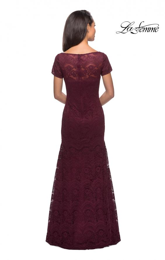 Picture of: Floor Length Lace Gown with Short Sleeves in Garnet, Style: 26875, Back Picture