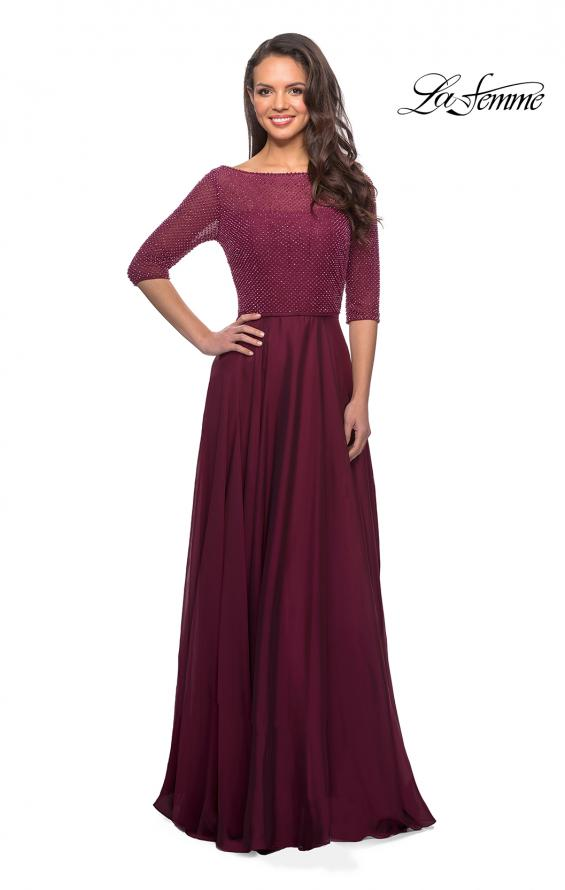 Picture of: Modern gown with beaded bodice and empire waist in Garnet, Style: 25011, Detail Picture 1