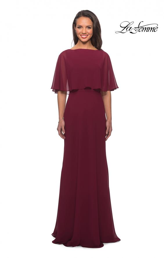 Picture of: Crepe Chiffon Dress with Sheer Cape-Like Overlay, Style: 25204, Detail Picture 1